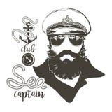Kapitan broda, nakrętka, okulary przeciwsłoneczni ilustracja wektor