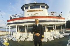 Kapitan delty królowa, relikwia steamboat era xix wiek, stojaki na przednim pokładzie łódź, Mississi Fotografia Stock
