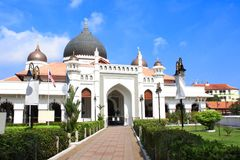 Kapitan Keling Mosque, Georgetown, Penang island, Malaysia. On blue sky background stock photo