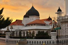 The Kapitan Keling Mosque during sunset. This mosque has historical value and it is located in Penang Island, Malaysia Royalty Free Stock Photo