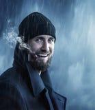 Kapitan w deszczu z gwizd Zdjęcie Stock