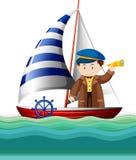 Kapitanu żeglowanie przy morzem ilustracji