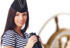 kapitanu dziewczyny pozyci jacht zdjęcie stock