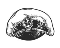 Kapitanu kapeluszowy rytownictwo ilustracja wektor