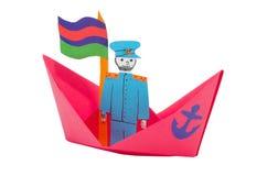 kapitanu papieru statek Zdjęcie Royalty Free