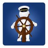 Kapitein achter het stuurwiel stock illustratie