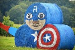 Kapitein America Hay Bales Royalty-vrije Stock Afbeeldingen