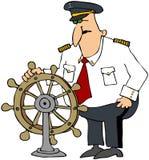 Kapitein bij het Wiel Royalty-vrije Stock Afbeelding