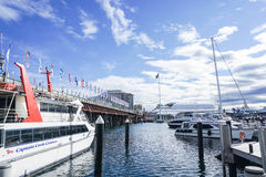 Kapiteinscook Cruise dok in Darling Harbour in Sydney stock foto