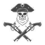 Kapiteinsschedel met baard in hoed met opgeslagen randenvector Royalty-vrije Stock Afbeeldingen