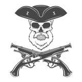Kapiteinsschedel met baard in hoed met opgeslagen randenvector Stock Foto's