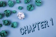 Kapitel 1 för handskrifttexthandstil Menande start för begrepp något som är ny, eller danande de stora ändringarna i en s-resa so arkivfoton