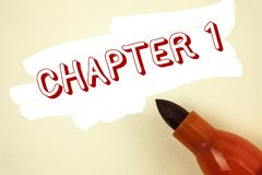 Kapitel 1 för handskrifttexthandstil Menande start för begrepp något som är ny, eller danande de stora ändringarna i en s-resa so royaltyfria bilder