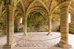 Kapitelhus, Buildwas abbotskloster, Shropshire, England royaltyfria foton