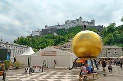 Kapitelplatz在萨尔茨堡,奥地利 免版税库存照片