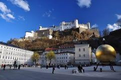Kapitelplatz, Salzburg, Oostenrijk. Royalty-vrije Stock Foto's