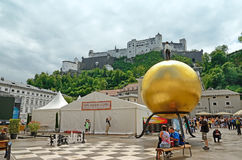 Kapitelplatz in Salzburg, Oostenrijk Royalty-vrije Stock Foto's