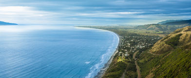 Kapiti Coast. Looking down along one of New Zealand wonderful coastlines of Kapiti, with the township  of Paekakariki in the foreground Royalty Free Stock Image