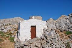 Kaplica i wiatraczek, Halki wyspa Obraz Stock