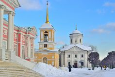 Kaplica, kościół i pałac Hrabiowski Sheremetov w Kuskovo rezydenci ziemskiej, Fotografia Stock