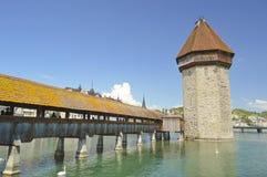 Kaplicy Kapellbrà ¼ Bridżowego cke stary drewniany most, lucerna, Szwajcaria Zdjęcie Stock