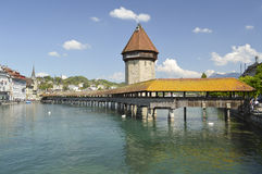 Kaplicy Kapellbrà ¼ Bridżowego cke stary drewniany most, lucerna, Szwajcaria Fotografia Stock