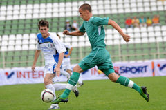 Kaposvar - Brescia youth soccer game. KAPOSVAR, HUNGARY - JULY 24: Unidentified players in action at the V. Youth Football Festival Under 17 Final Rakoczi FC ( Stock Image