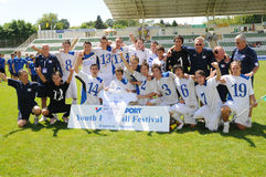 Kaposvar - Brescia youth soccer game. KAPOSVAR, HUNGARY - JULY 24: Brescia players celebrate the win at the V. Youth Football Festival Under 17 Final Rakoczi FC Royalty Free Stock Photography
