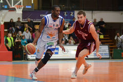 Kaposvar - Debrecen basketbalspel Royalty-vrije Stock Fotografie