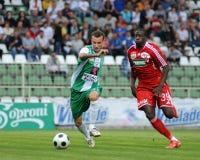 Kaposvar-Debrecen-Fußballspiel Stockfotografie