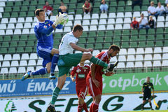 Kaposvar - Debrecen soccer game Stock Photos