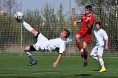 Kaposvar - Debrecen U17 soccer game Stock Image