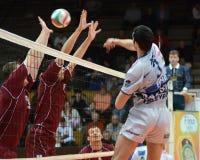 Kaposvar - Dunaferr volleyballspel royalty-vrije stock afbeelding