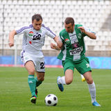 Kaposvar - Gyor soccer game Stock Images