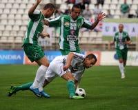 Kaposvar - Gyor soccer game Royalty Free Stock Images