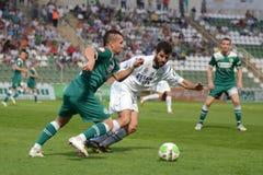 Kaposvar - Gyor voetbalspel Stock Afbeeldingen