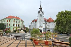 Kaposvar, Hungary. AUGUST 11, 2012: People visit Old Town in Kaposvar. Kaposvar is the capital of Somogy County and the 13th most populous city in Hungary Royalty Free Stock Photo