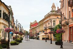 Kaposvar, Hungary. AUGUST 11, 2012: People visit Old Town in Kaposvar. Kaposvar is the capital of Somogy County and the 13th most populous city in Hungary Stock Photos