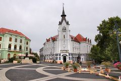 Kaposvar, Hungary. AUGUST 11, 2012: People visit Old Town in Kaposvar. Kaposvar is the capital of Somogy County and the 13th most populous city in Hungary Stock Images