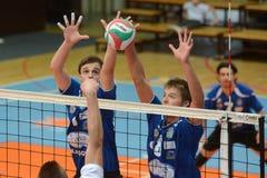 Kaposvar - Kazincbarcika volleyball game. KAPOSVAR, HUNGARY - OCTOBER 2: Alpar Szabo (L) in action at a Hungarian Championship volleyball game Kaposvar (blue) vs stock images