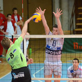 Kaposvar - Menen Volleyballspiel Lizenzfreie Stockbilder