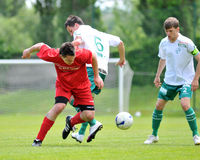 Kaposvar - Mohacs soccer game Royalty Free Stock Photography