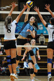 Kaposvar - Nyiregyhaza Volleyballspiel Lizenzfreies Stockfoto