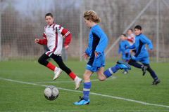 Kaposvar - Pecs U13 soccer game Stock Images