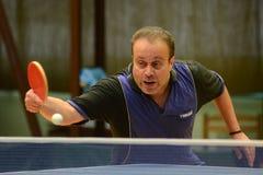 Kaposvar - Polgardi table tennis game. KAPOSVAR, HUNGARY - JANUARY 15: Janos Varga in action at a Hungarian National Championship II, table tennis game Kaposvar stock images