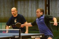 Kaposvar - Polgardi table tennis game. KAPOSVAR, HUNGARY - JANUARY 15: Janos Varga (R) in action at a Hungarian National Championship II. table tennis game Stock Image