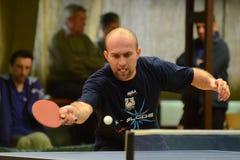 Kaposvar - Polgardi table tennis game. KAPOSVAR, HUNGARY - JANUARY 15: Norbert Berdar in action at a Hungarian National Championship II, table tennis game royalty free stock photos