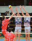 Kaposvar - Resovia Volleyballspiel Lizenzfreie Stockfotos