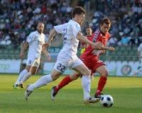 Kaposvar - Szolnok voetbalspel Stock Afbeeldingen
