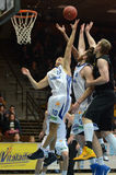 Kaposvar - Szombathely basketbalspel Royalty-vrije Stock Foto